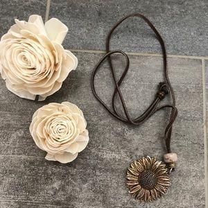 Suede Leather Adjustable Brass Sunflower Necklace